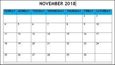 November 2018 Blank Printable Calendar. November Month, Printable Calendar Template, Monday Tuesday Wednesday, Calendar 2018, Printables, Templates, Words, Calendar, Role Models