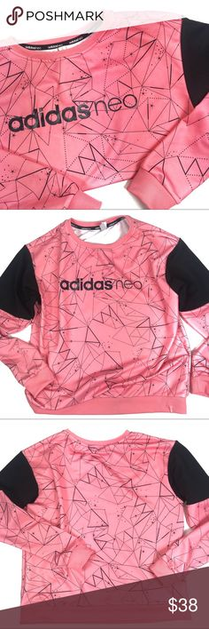 Adidas Geometric Print Crewneck Sweatshirt Adidas Neo Geometric Print Crewneck Sweatshirt, perfect for a workout or as casual-wear. Really pretty coral/peach/pink color, in excellent condition. Approx 23in L, 22in Arm, 20in Bust. No trades or modeling, offers welcomed. adidas Tops Sweatshirts & Hoodies