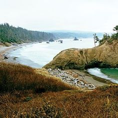 A view of Battle Rock and beach Port Orford, Oregon: