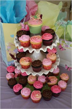 Whimsical butterfly baby shower cupcakes.