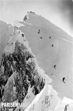 Départ de la piste de ski du Brévent. Chamonix (Haute-Savoie).
