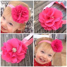 "Shabby Flower Clip-Shabby Flower Headband-Pink Flower Headband-Pink Flower Hair Clip-3"" Flower Clip on Etsy, $6.00"