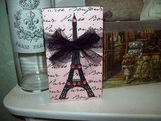 Shabby Paris chic decor pink black Eiffel Tower block sign shelf sitter French  #handmadebyjulie #Paris Paris Wall Decor, Paris Birthday, Shabby Chic Pink, French Home Decor, Tower Block, Paris Chic, Black Decor, Tray Decor, Wooden Signs