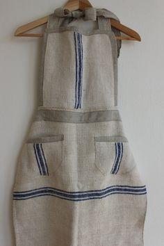 Custom Vintage Grain Sack Apron by maisondemichele on Etsy Cafe Apron, Vintage Table Linens, Hemp Fabric, Romantic Outfit, Grain Sack, Linens And Lace, Jute Bags, Apron Dress, Couture