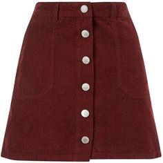 Miss Selfridge Burgundy Cord Mini Skirt ($35) ❤ liked on Polyvore featuring skirts, mini skirts, burgundy, button skirt, red skirt, a-line button front skirt, short skirts and mini skirt