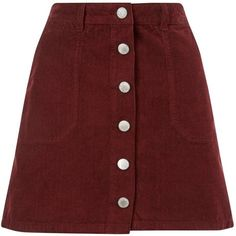 Miss Selfridge Burgundy Cord Mini Skirt ($35) ❤ liked on Polyvore featuring skirts, mini skirts, bottoms, polleras, burgundy, red skirt, red a line skirt, a-line button front skirt, cord mini skirt and short red skirt