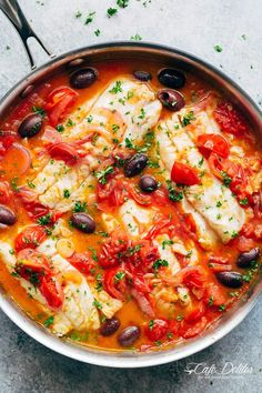 Pan Seared Fish With Tomatoes & Olives is a family favourite and weeknight staple recipe! Light and flavourful, a simple meal in minutes!
