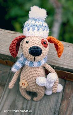 Собачка крючком. Описание вязания и пошаговые фото.
