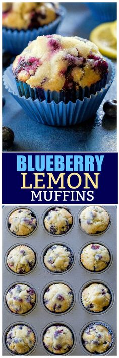 These Blueberry Lemon Muffins have a lemon sugar glaze. Moist and full of blueberries. A great breakfast treat! #muffins #recipe the-girl-who-ate-everything.com