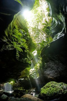 Shaft of light - underground - caves