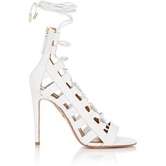 Aquazzura Women's Amazon Lace-Up Sandals ($695) ❤ liked on Polyvore featuring shoes, sandals, heels, delete, white, heeled sandals, lace-up sandals, white leather shoes, leather sandals and caged heel sandals