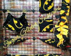 Batman 13 Piece Sugar Glider Cage Set. For small animals such as rats, gerbils, guinea pigs, hamsters, ferrets, hedgehogs, mice, chinchillas
