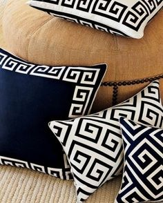 Greek key design for pillows Greek Design, Key Design, Greek Decor, Greek Pattern, Cat Pattern, Pattern Ideas, Patterns, Enchanted Home, Greek Key