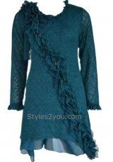 Pretty Angel Clothing Cabernet Shirt Dress In Turquoise