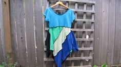 Turquoise Blue Green Pixie Tunic Top Lagenlook Upcycled/ Funky Asymmetrical Eco…