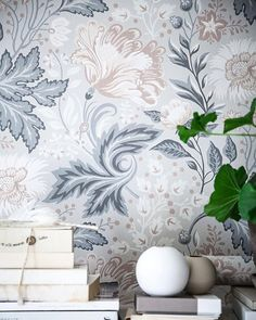 I Love these wallpapers with flowers in different shades of blue and beige from Sandbergs Tapeter, the Anna Kubel collection. Luxury Bedroom Design, Interior Design, Black Flowers Wallpaper, Farmhouse Style Kitchen, Wall Wallpaper, Sandberg Wallpaper, Bedroom Wallpaper, Luxurious Bedrooms, Colour Schemes