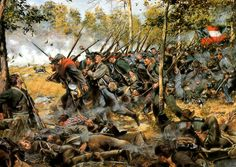 Band of Brothers, Culp's Hill at the Battle of Gettysburg, 3 July by Don Troiani. The Maryland Infantry at Spangler Spring, east of Culps Hill at Gettysburg. Military Art, Military History, Civil War Art, Southern Heritage, Confederate States Of America, Civil War Photos, American Civil War, American Soldiers, Civilization