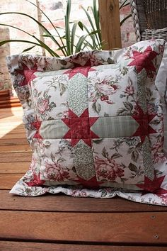 Pretty Quilted Patchwork Floral and Flanged Cushion