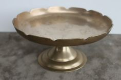 Scalloped Brass Cake Stand by HKboutique on Etsy #cakestand #BrassCakestand