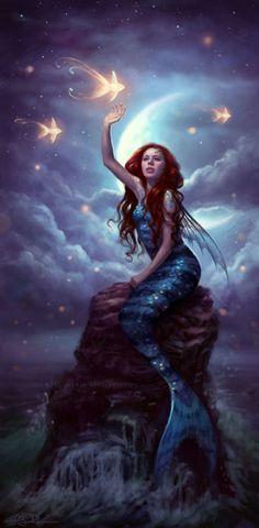 Mermaid catchng falling stars