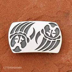 Hopi Silver Belt Buckle - Bear Paws