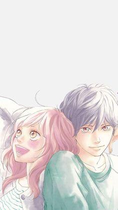 Manga Anime, Manga Art, Anime Love Couple, Cute Anime Couples, Futaba Y Kou, Ao Haru Ride Kou, Ride Drawing, Blue Springs Ride, Lovely Complex
