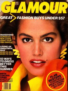 Vintage Glamour Magazine Covers: Glamour.com Cindy Crawford. Super Model 1987