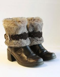 Take a plain pair of boots and update them with fur and straps! Too cute!