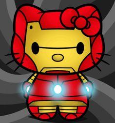 how to draw hello kitty iron man