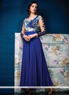 Dilettante Printed Georgette Blue Designer Gown #Floral, #Gown, #Party, #Ethnic, #Festive, #Embroidered