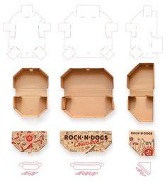 Food packaging - ROCK'N'DOGS Takeaway Food Packaging (Student Project) – Food packaging Packaging Nets, Burger Packaging, Cake Boxes Packaging, Packaging Dielines, Takeaway Packaging, Cardboard Packaging, Food Packaging Design, Packaging Design Inspiration, Packaging Design Templates