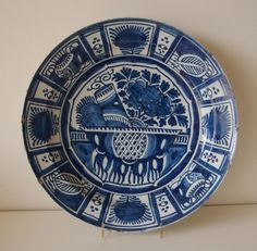 "A LARGE 18th Century DUTCH DELFT DISH PLATE Charger ""CHINESE KRAAK"" Ø35cm/14ins"