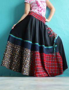 Women Maxi Skirt Cotton Hippie Black Women Long by myuniverse, $39.90