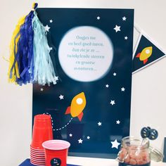 Alu Poster | Raket Blauw #babyborrel #kinderfeestje #poster #rocket #Beaublue