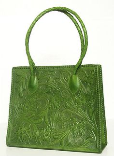 Green Hand Tooled Leather   Purse by ChamanShop on Etsy, $160.00