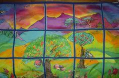 """""""A Very Nice Backyard"""" silk quilt"""