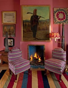 Dare to dare: Striped rug, pink walls, and flat-out awesome chairs.