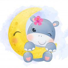 Baby Hippo, Cute Hippo, Cartoon Hippo, Cute Cartoon, Elephant Illustration, Cute Illustration, Realistic Drawings, Cute Drawings, Dancing Animals
