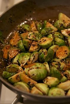 Brussel sprouts with soy, honey and red pepper flakes!  Sticky, sweet and spicy....perfect for Easter dinner!