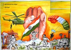 """Online Painting Competition,Army Day 2017 Painting by Padmaja, Age 18 Yr reflects Present in All Spheres. Earth Drawings, Art Drawings For Kids, India Painting, Online Painting, Oil Pastel Art, Oil Pastel Drawings, Incredible India Posters, Independence Day Drawing, Indian Flag Images"
