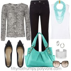 Animal with Tourquoise by fiftynotfrumpy on Polyvore