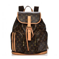 LOUIS VUITTON Monogram Bosphore Backpack ❤ liked on Polyvore featuring bags, backpacks, cross over bag, brown backpack, flap bag, monogrammed bags and louis vuitton backpack