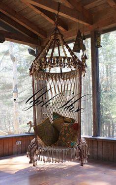 Handmade OOAK Macrame Vintage Retro Style Hanging Woodstock Hippie Elf Fairy Swing Chair as seen on HGTV Junk Gypsy series. via Etsy. Woodstock Hippies, Macrame Hanging Chair, Macrame Chairs, Hanging Chairs, Hanging Beds, Hammock Chair, Swinging Chair, Chair Swing, Patterned Chair
