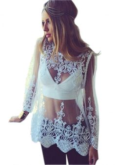Moxeay® Womens Floral Semi Sheer Shirt Sleeve T-Shirt Lace Crochet Top Blouse
