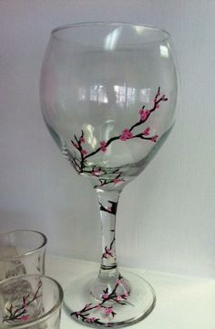 Painted Wine Glasses | Hand painted Cherry Blossom Wine glasses