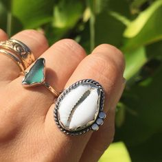 The #RinconArtWalk is tonight & I'll have this freshly made sweet lil cowrie ring with me.  #cowrielove #handmade #rings #summerlovejewelry