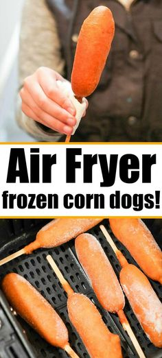 Air Fryer Corn Dogs – You'll Never Make Them in Your Microwave Again! Air fryer corn dogs are the bomb! They cook way faster this way to get that nice crunchy texture on the outside with a tender hot dog in the center. Air Fryer Recipes Snacks, Air Fryer Recipes Low Carb, Air Fryer Recipes Breakfast, Air Frier Recipes, Air Fryer Dinner Recipes, Airfryer Breakfast Recipes, Recipes Dinner, Dessert Recipes, Corn Dogs