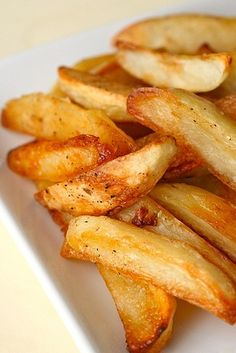 pinner says... perfect technique for baked oven fries.  Seriously perfect technique.  Some of the best fries Ive ever eaten.  And they didnt come out of a deep-fryer!  They came out of my oven.