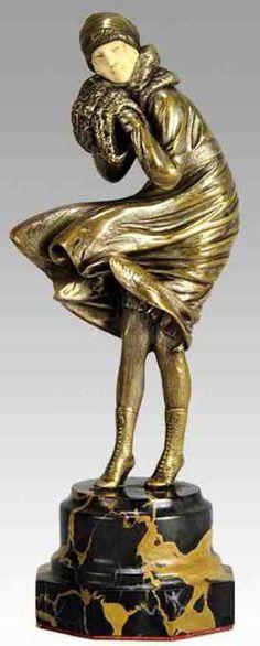 Demetre Chiparus - Art Déco - Sculpture 'Le Vent'