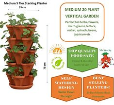 5 Tier Stackable Strawberry, Herb, Flower, and Vegetable Planter - Vertical Garden Indoor/Outdoor Continue to the product at the image link. (This is an affiliate link) Strawberry Planters, Strawberry Garden, Raised Planter, Planter Pots, Planter Ideas, Outdoor Gardens, Indoor Outdoor, Verticle Garden, Vegetable Planters